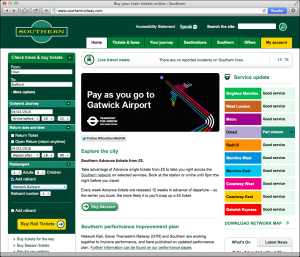 Screenshot: Southern Railway site home page